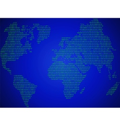 abstract world map made in the form of binary code vector image