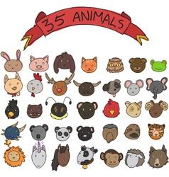 Animal heads hand drawn vector