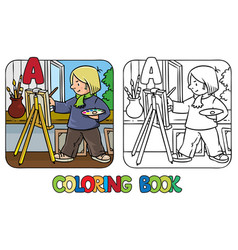 Artist coloring book profession abc alphabet a vector
