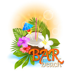 Beach bar background with coconut cocktail vector