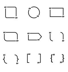 black quote form icon set vector image vector image