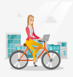 Business woman riding a bicycle with a laptop vector