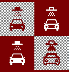 Car wash sign bordo and white icons and vector