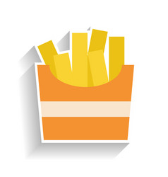 cardboard box with fried potatoes flat color icon vector image