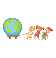 Children pulling wagon with a globe vector