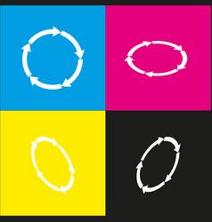 Circular arrows sign white icon with vector