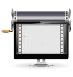 Computer cinema concept vector