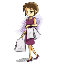 cute shopping girl vector image vector image