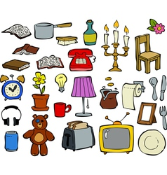 doodle household items vector image vector image