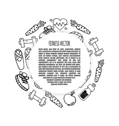 Fitness frame circle white and black vector image vector image