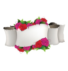 Flowers and old paper scroll vector image vector image