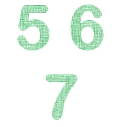 Green fabric font set - numbers 5 6 7 vector