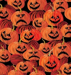 Halloween seamless background with pumpkin vector image