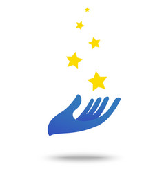 Hand with star symbol element and icon vector
