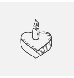 Heart-shaped cake with candle sketch icon vector image vector image