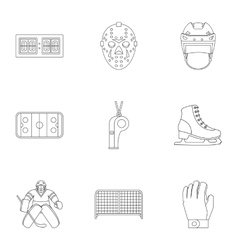 Hockey icons set outline style vector