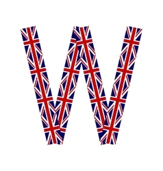 Letter W made from United Kingdom flags vector image vector image
