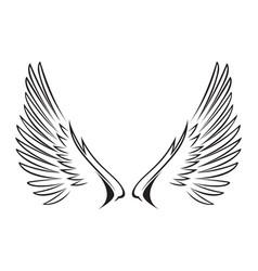 line art of wings vector image