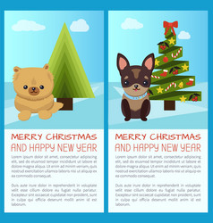 merry christmas set of dogs vector image vector image