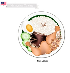 Nasi lemak or malaysian rice with coconut milk vector