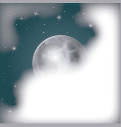 Nightly scene background with moon view covered by vector
