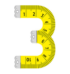 Number three ruler icon cartoon style vector
