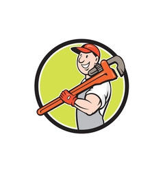 Plumber smiling holding monkey wrench circle vector