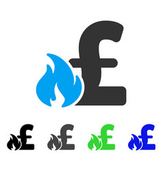 Pound financial fire flat icon vector