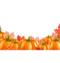 Pumpkins border vector