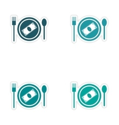 Set of stylish sticker on paper money in plate vector