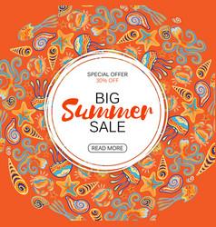 Summer sale round frame marine life vector
