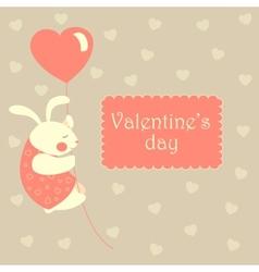 Valentine rabbit flying on heart shaped baloon vector