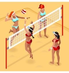 Volleyball beach field 2016 summer games 3d vector