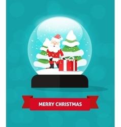 Snow globe santa claus gift new year trees Merry vector image