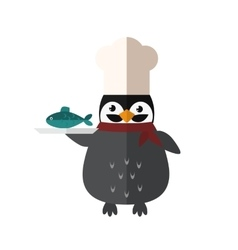 Penguin chef animal character vector