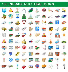 100 infrastructure set cartoon style vector image