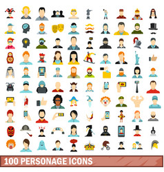100 personage icons set flat style vector