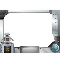 A gray metallic frame with a robot vector image