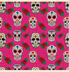 Seamless pattern with sugar skulls vector