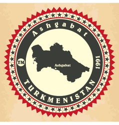 Vintage label-sticker cards of turkmenistan vector