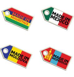 label Made in Mauritius Mexico Moldova Mongolia vector image