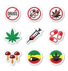 Drugs addiction marijuana syringe colorful labe vector image
