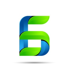 3d number six 6 logo with speed green leaves vector