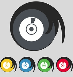 Cd or dvd icon sign symbol on five colored buttons vector