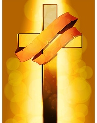 Gold cross with banner over glowing background vector