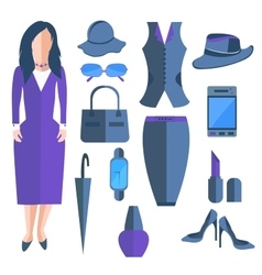 Set isolated business ladies clothes and vector