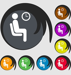 Waiting icon sign symbol on eight colored buttons vector