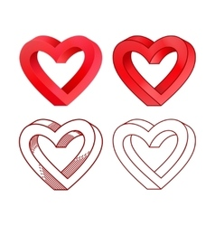 Retro valentine day line heart icon set vector