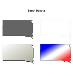 South dakota outline map set vector
