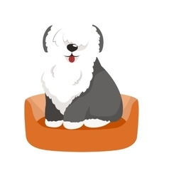 Cute pet bed place for sleeping dog vector